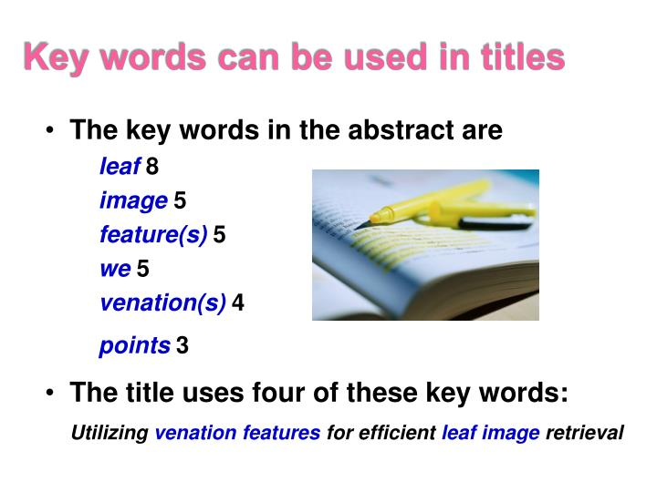 Key words can be used