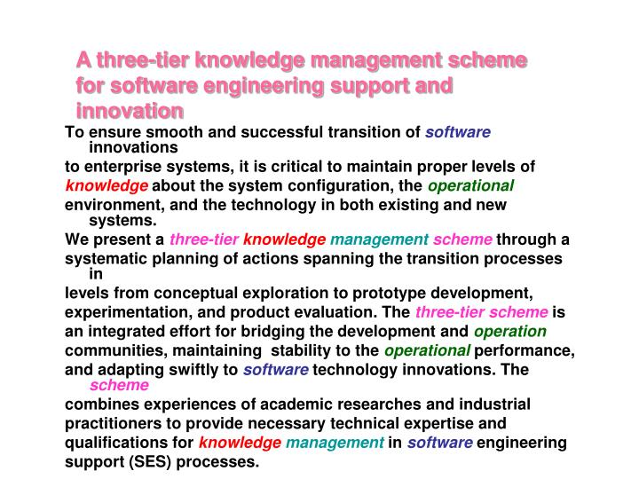 A three-tier knowledge management scheme for software engineering support and innovation