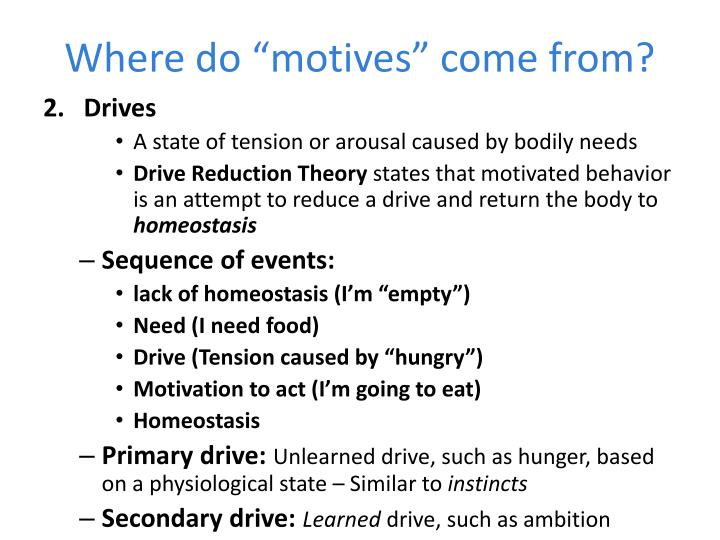 "Where do ""motives"" come from?"