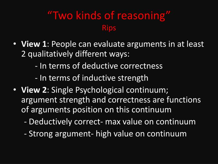 """""""Two kinds of reasoning"""""""