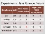 experiments java grande forum