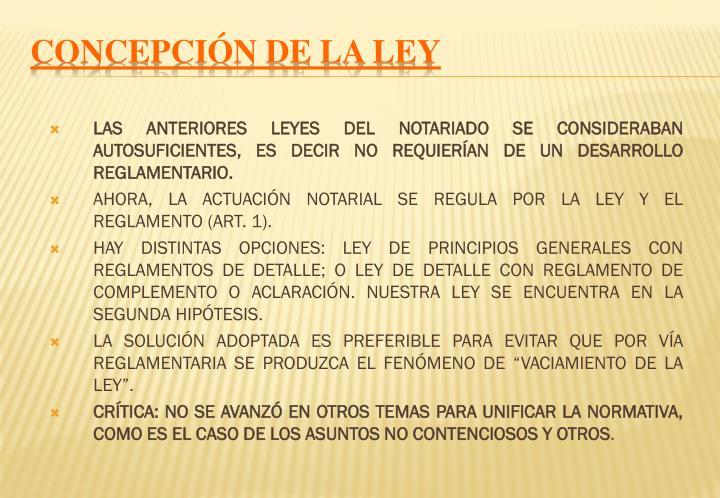 CONCEPCIÓN DE LA LEY