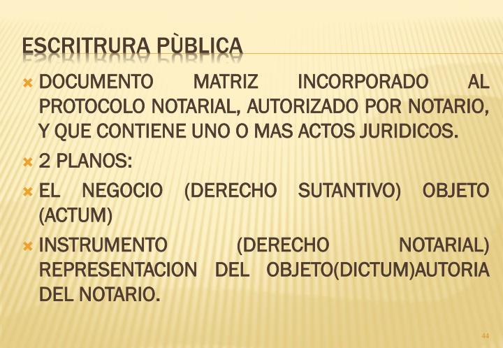 DOCUMENTO MATRIZ INCORPORADO AL PROTOCOLO NOTARIAL, AUTORIZADO POR NOTARIO, Y QUE CONTIENE UNO O MAS ACTOS JURIDICOS.