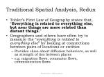 traditional spatial analysis redux
