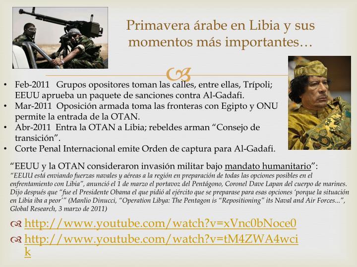Primavera árabe en Libia y sus momentos más importantes…