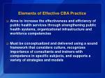 elements of effective cba practice