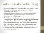 waldenses a k a waldensians