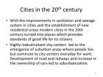 cities in the 20 th century