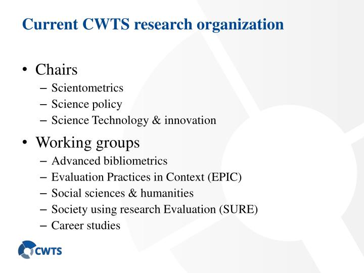 Current CWTS research organization