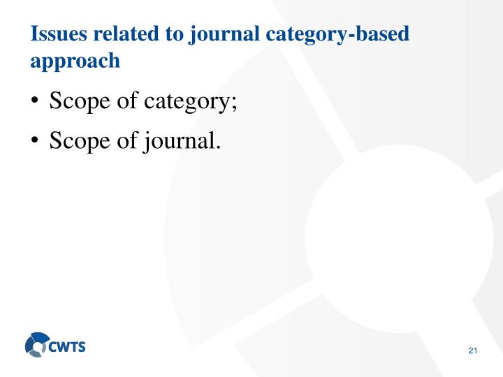 Issues related to journal category-based approach