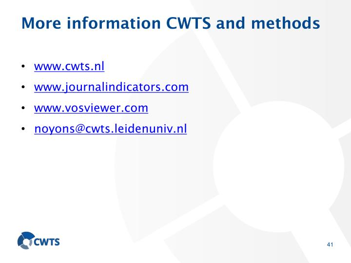 More information CWTS and methods