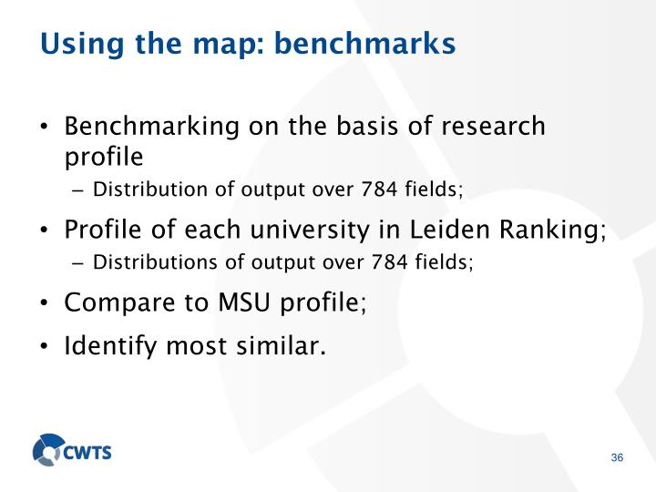 Using the map: benchmarks