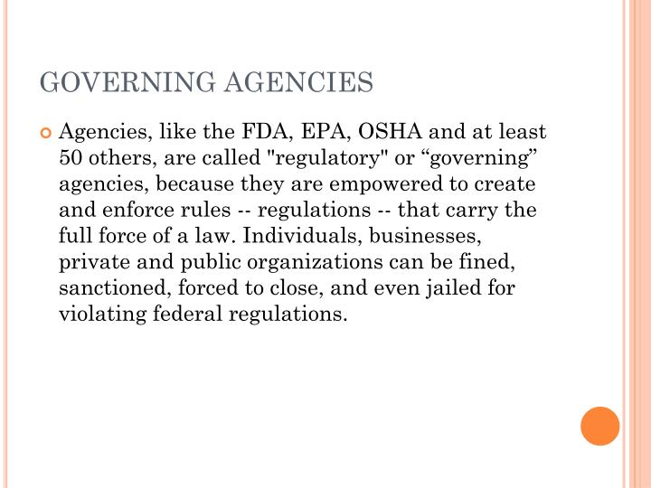 Governing agencies1