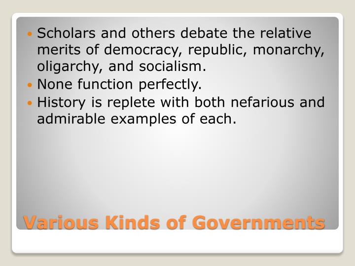 Various kinds of governments