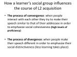 how a learner s social group influences the course of l2 acquisition