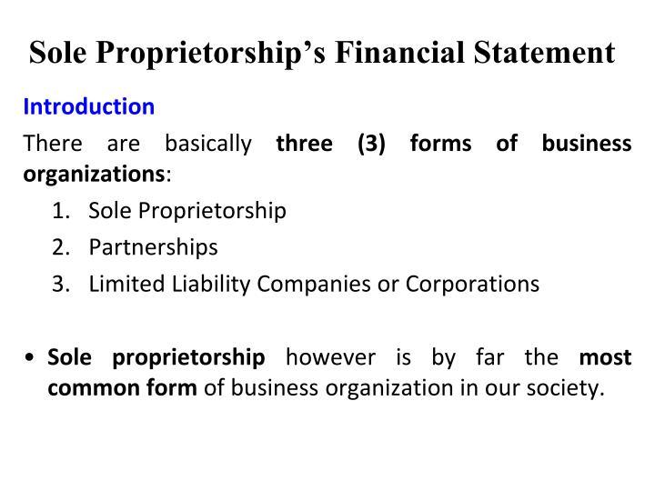 Sole proprietorship s financial statement