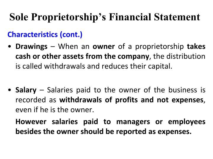 Sole Proprietorship's Financial Statement