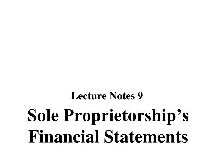 Sole proprietorship s financial statements