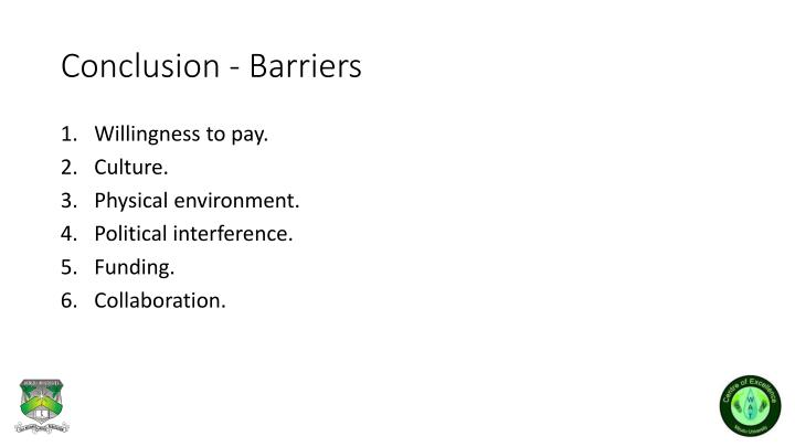 Conclusion - Barriers