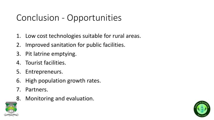 Conclusion - Opportunities