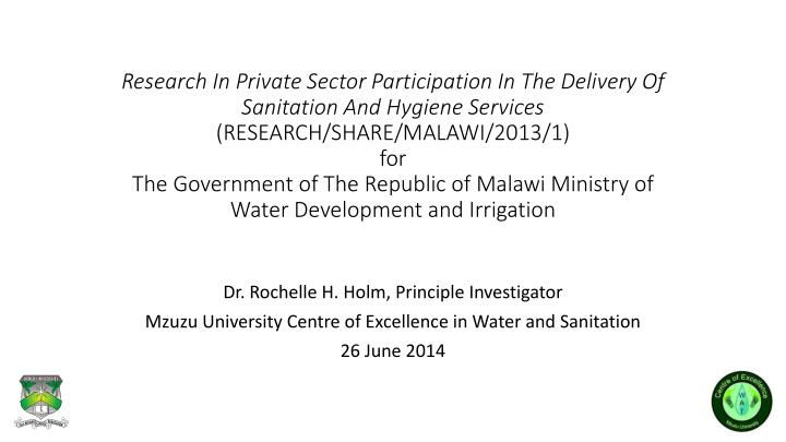 Research In Private Sector Participation In The Delivery Of Sanitation And Hygiene Services