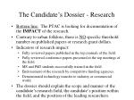 the candidate s dossier research