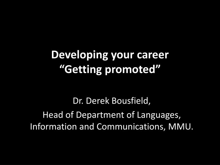 developing your career getting promoted n.