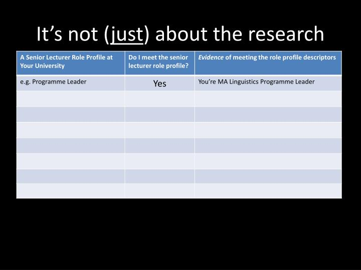 It s not just about the research