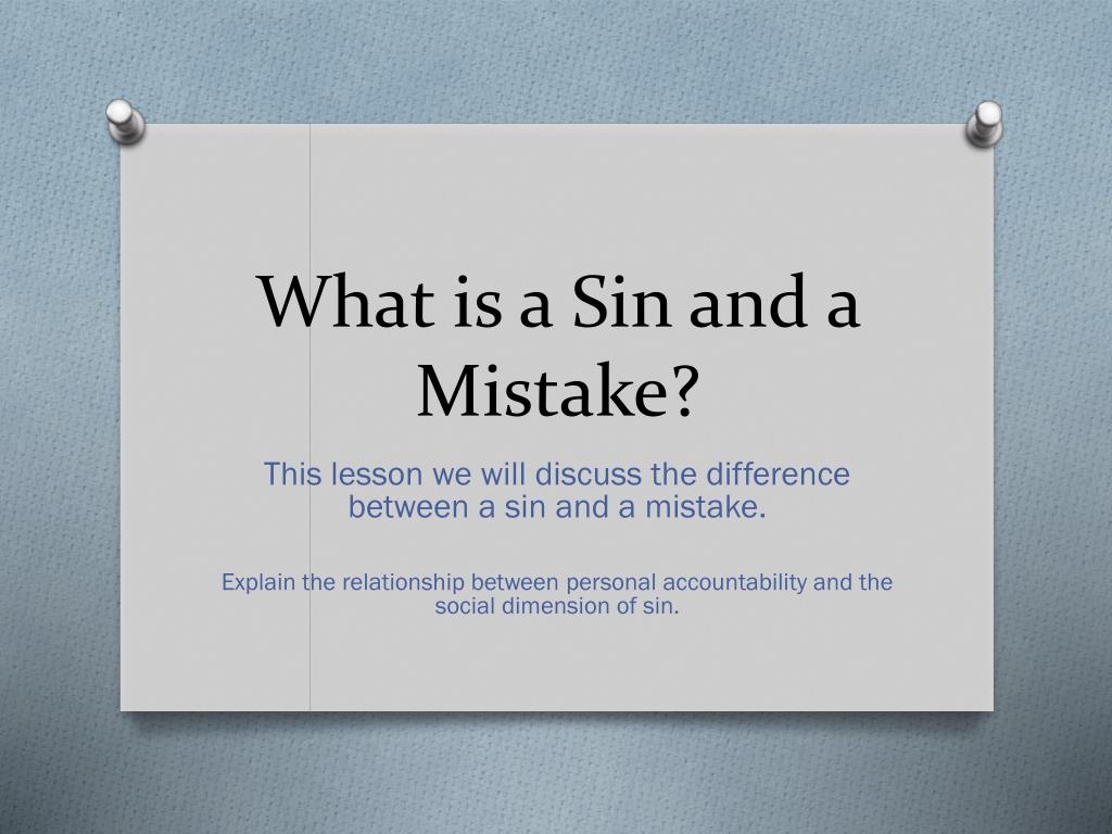 What Is A Sin And Mistake N