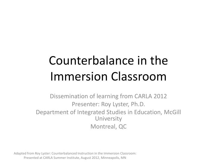 counterbalance in the immersion classroom n.