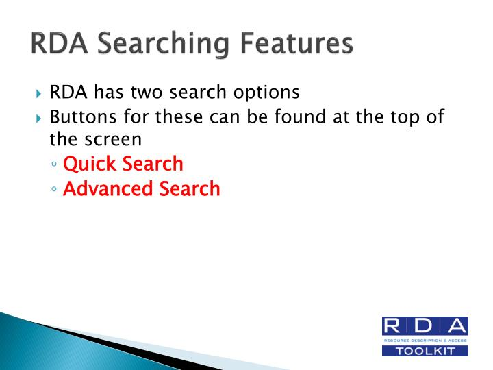 RDA Searching Features