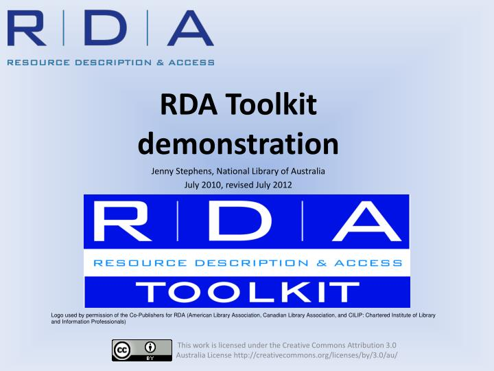rda toolkit demonstration jenny stephens national library of australia july 2010 revised july 2012 n.