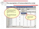 the assumption of homoscedasticity script
