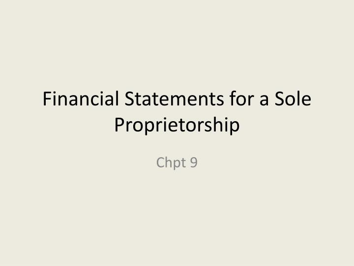 preparation of financial statements for sole