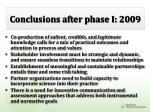 conclusions after phase i 2009