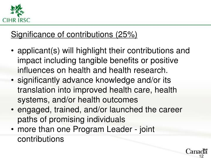 Significance of contributions (25