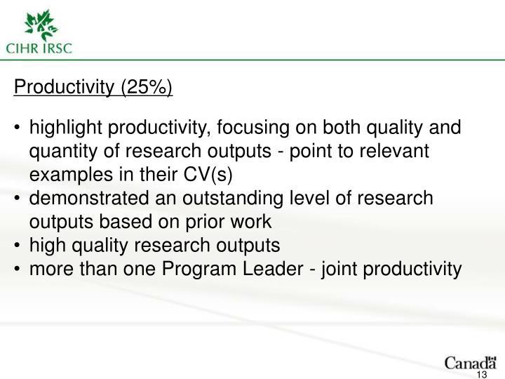 Productivity (25