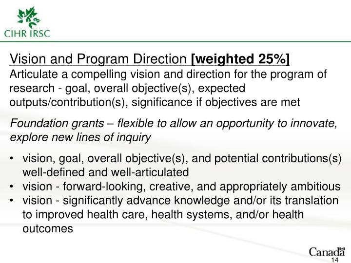 Vision and Program Direction