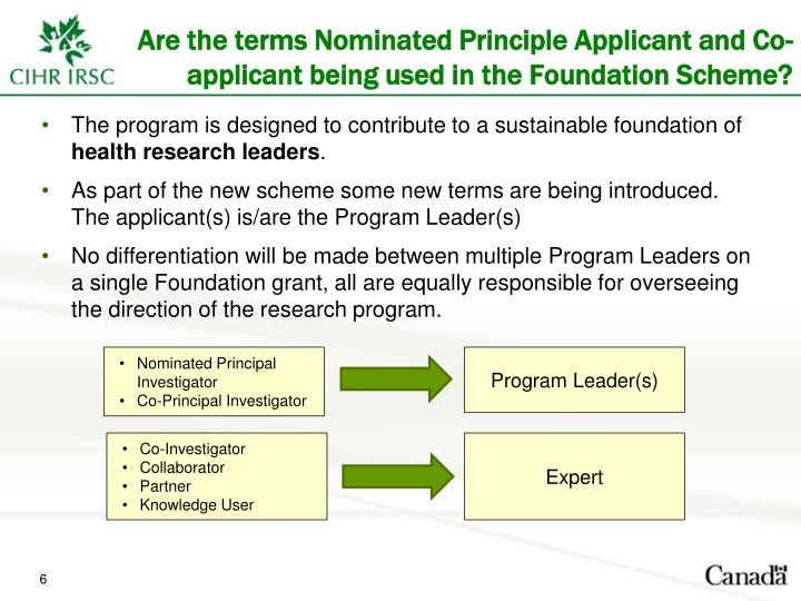 Are the terms Nominated Principle Applicant and Co-applicant being used in the Foundation Scheme?
