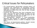critical issues for policymakers