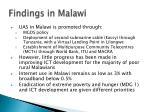 findings in malawi