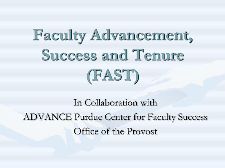 faculty advancement success and tenure fast n.