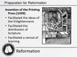 preparation for reformation17
