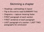 skimming a chapter