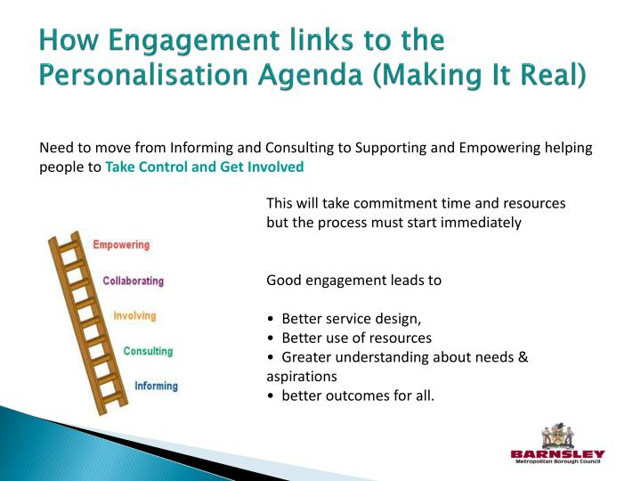 How engagement links to the personalisation agenda making it real