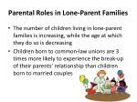 parental roles in lone parent families