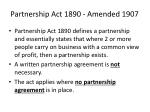 partnership act 1890 amended 1907
