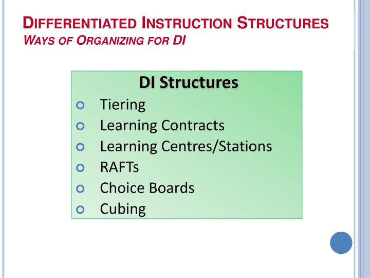Differentiated Instruction Structures