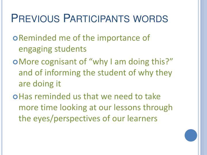 Previous Participants words