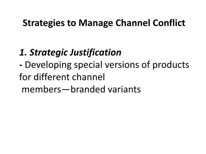 Strategies to Manage Channel Conflict